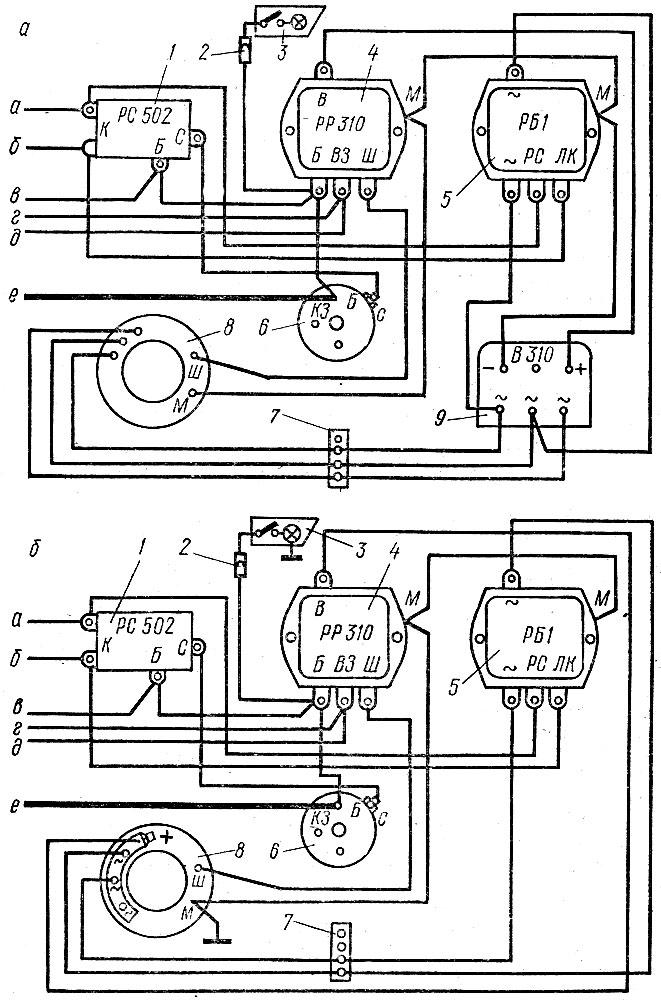 Схема включения генератора в