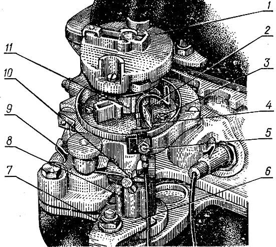 Рис. 39. Распределитель зажигания автомобиля 'Жигули': 1 - бегунок ротора; 2 - контакты прерывателя; 3 - винт; 4 - паз; 5 - клемма; 6 - кронштейн; 7 - гайка; 8 - корпус; 9 - пружинная защелка; 10 - масленка; 11 - кулачок