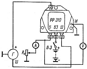 Рис. 44. Схема проверки исправности реле-регулятора: РР - реле-регулятор; R н - реостат; А- амперметр; Г - генератор; В - вольтметр