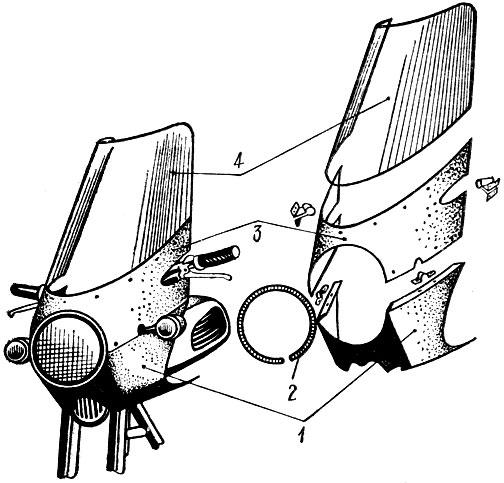Рис. 51. Ветровой щиток сборный: 1— нижняя часть; 2 — уплотнитель фары; 3 — средняя часть; 4 — оргстекло