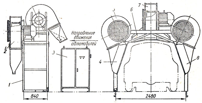Схема установки для обдува