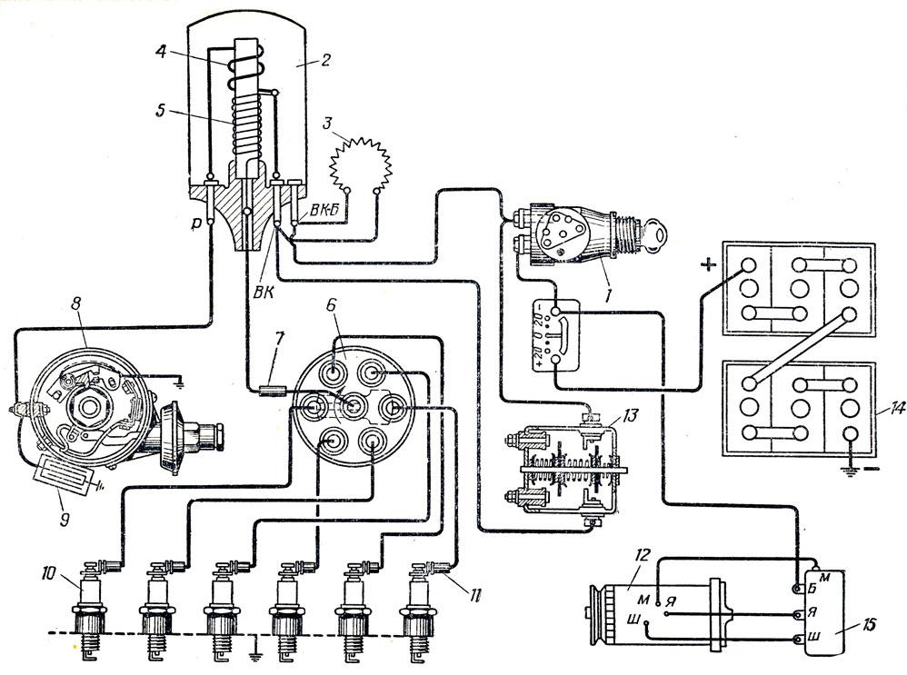 Схема системы зажигания: 1
