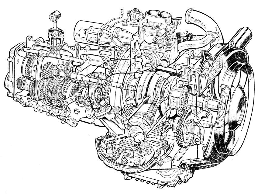 оппозитным двигателем