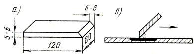 Рис. 10. Резиновый шпатель (а) и нанесение шпатлевки (б)