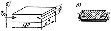 Рис. 11. Пластина из твердой резины для шлифования (а) и пластина с зажатыми в ней листами-шлифовальной шкурки (б)